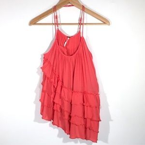 Free People Boho Ruffle Top Loose Fit Tank Coral